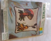 Vintage Crewel Embroidery Kit Mushroom Pillow from Minuet