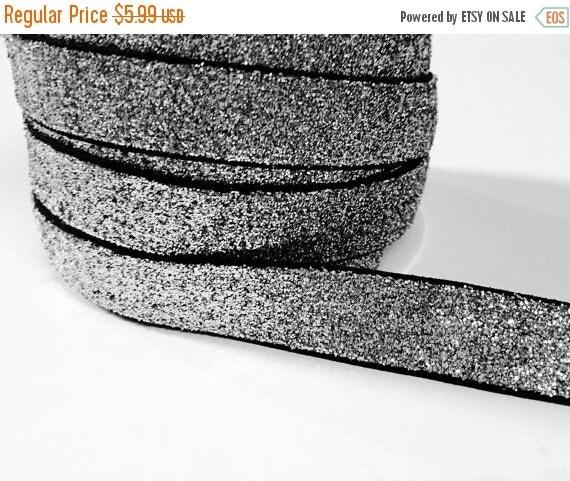 25% OFF TILL 9/26 5/8 Glitter Stretch Velvet Elastic 5 YARDS - No Flake - Sparkle Black