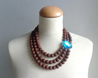 Brown turquoise statement necklace, double strand necklace rhinestone necklace