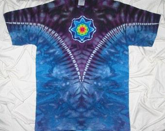 tie dye, medium mandala ice dye, arrow back, v neck design, grateful dan dyes, festival clothing