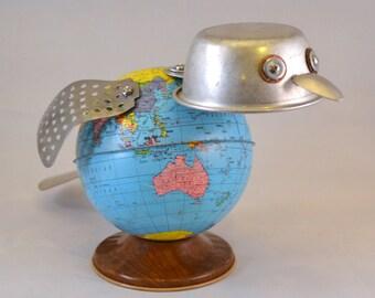 SOREN the BIRD BOT, Assemblage Art Globe Bank Robot Sculpture