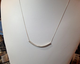Simple Hammered Silver Bar Minimalist Necklace