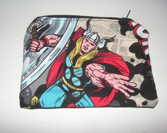 Thor marvel comic handmade fabric coin change purse zipper pouch