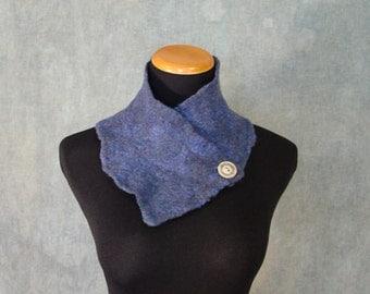 Sparkly Blue Nuno Felted Scarf / Neck Warmer - Silk and Wool Felt