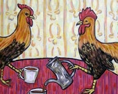 10% off SALE Chickens at the Coffee Shop Art TIle Coaster Gift