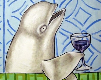 ON SALE Beluga Whale at the Wine Bar Art Tile Coaster