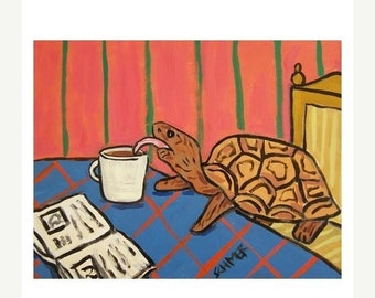 ON SALE Turtle at the Coffee Shop Art Print