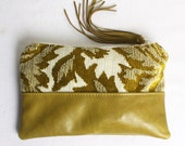 Leather Zip Pouch Bag in Vintage Green Velvet and Olive Green Genuine Leather Clutch Bag