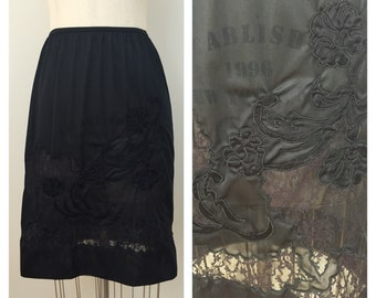 50s Black Nylon Lace Embroidered Half Slip, Size XS to Small
