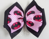 Batgirl Superhero Bow -  Batman Pinwheel Style - No Slip Velvet Grip Hair Clip