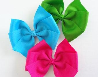 Hair Bows Starter Set Jewel Tone Baby Gift - No Slip Clips