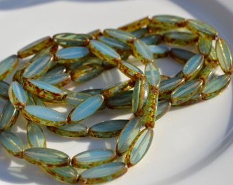 Milky Pale Blue Spindle Czech GLass Beads  6