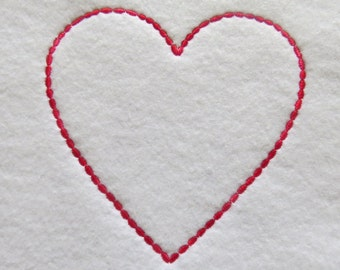 Heart Oval Edge Outline Embroidery Designs - 3 sizes