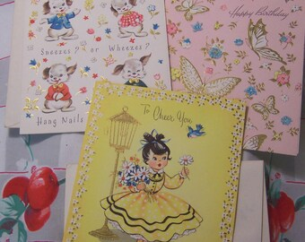 three charming and darling vintage cards