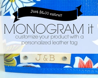 monogram leather tag // monogrammed leather tag for oilcloth products bag binder cover key fob personalized