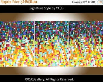 """Holiday sale 54""""Abstract Oil Painting wall art wall decor Original Art Impasto Painting home Office art """"Bohemian Lights"""" by qiqigallery"""