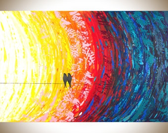 Colorful abstract art large wall art Original artwork modern abstract Acrylic painting birds on a wire impasto canvas art wall art canvas