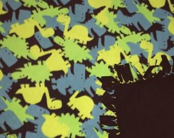 Fleece Blankets - Fleece Throw Blankets - Glow In the Dark Dinos