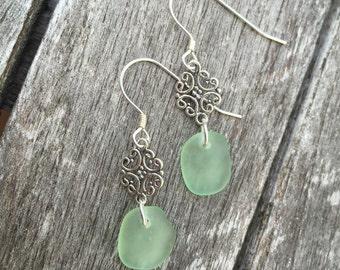 Sea Foam Green Sea Glass or Beach Glass Earrings