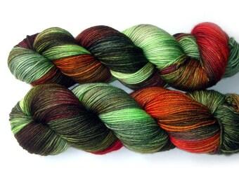 Sock Yarn Handdyed Merino Cashmere Nylon Yarn - Kale Salad, 430 yards