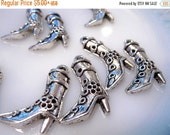 50 % Off Sale Western Cowgirl Boot Charms with flowers and high heels. Antique Silver pendants, drops or add ons to use in your jewelry desi