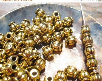 50% Off 25 pcs Antique Gold Round Fluted Lantern Beads, 6x5mm with a 2mm hole, MB1069 AF16