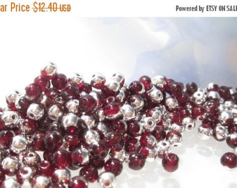 50% Off 200pcs 4mm Glass Beads, Light Garnet Silver Smooth Round Czech Glass Druk Beads, /901027001/4 GB 677