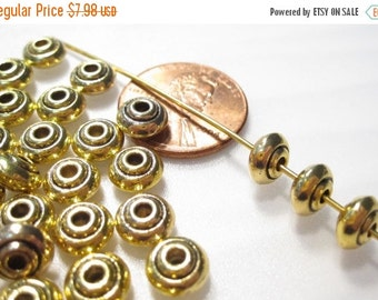 50% Off 25 pcs Gold Rondelle Beads, Antique Gold Spacer Beads, Turkish Style Beads, 4x7mm, Antique Gold Rondelle Beads MB1077 J16