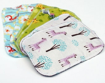 """5"""" by 8"""" inch Serged Cloth Wipes/Washcloths - Flannel/Baby Terry- set of 6 with terrycloth backs"""