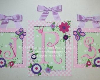 Princess Nursery Art, Butterflies, Monogram art, Nursery wall art, Princess nursery, Pink, Lavender, Purple, canvas wall letter, wall letter