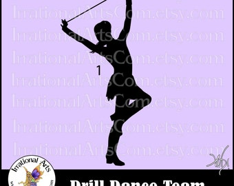 Drill Dance Team Silhouettes Pose 1 - 1 eps & svg Vinyl Ready files and 1 png digital file and commercial license [INSTANT DOWNLOAD]