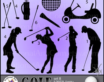 Golf Silhouettes set 8 - Vinyl Ready Images 11 EPS SVG & Png clipart graphics + SCL [Instant Download]