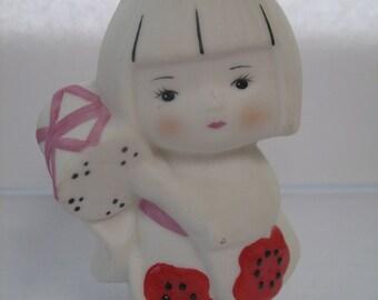 Flower Maiden with Tsuzumi (Drum) and Kimono Figurine