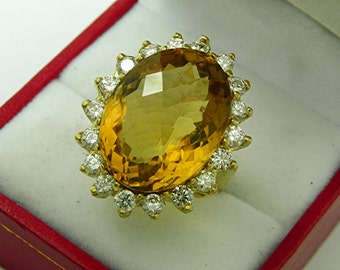 AAAA Citrine 19 carats 20 x 15mm Checkerboard cut 18K yellow gold Diamond halo ring with 1.75 carats of Diamonds  1352