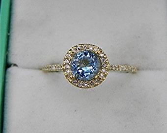 AAAA Blue Santa Maria Aquamarine Natural Untreated 6mm Round .74 carats 18K Yellow gold Halo ring .30 carats of diamonds 0811