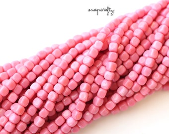 pink czech glass 4mm cube beads / 100pc opaque pink cube beads / full strand / pressed glass square geometric beads
