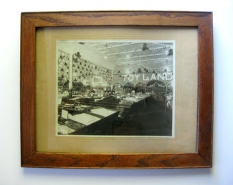 Vintage Framed Woolworth's Toyland Large Photograph, 1900s