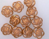Vintage Clear with Gold Fancy Acrylic Flower Beads 16x16mm (12)