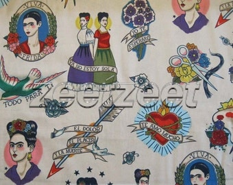 TODO PARA TI Tea Tattoo Spanish Latino Espagnol Frida Kahlo Alexander Henry Cotton Quilt Fabric by the Yard, Half Yard, or Fat Quarter Fq