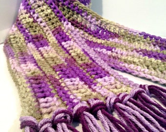 Lavender Violet and Dark Green Striped Hand Crocheted Orphan Scarf
