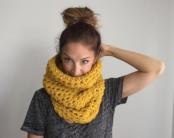 Chunky cowl scarf / #1021 / Limited Edition Color - Butternut / wool blend / handmade / knit / crochet / fall winter 2016