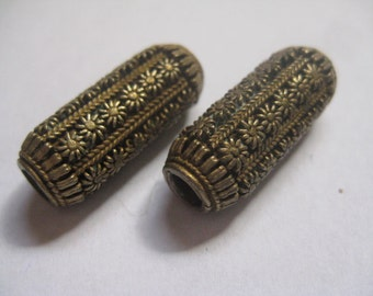 2 Antique Brass Tube Beads with Highly Detailed Flowers Possibly Lost Wax Method