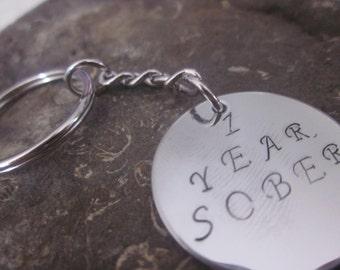 1 Year Sober Keyring Key Chain hand stamped onto circle Key ring Key holder