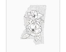 Mississippi> Magnolia> State Flower Drawing> Giclee Print