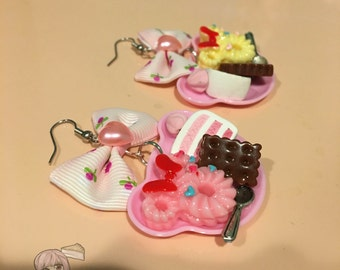 Pink Bear Plate Of Cake And Cookies Bow Earrings