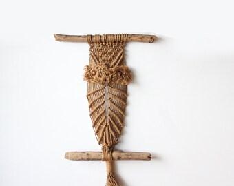 Large Driftwood & Macrame Jute Hanging Owl Weaving
