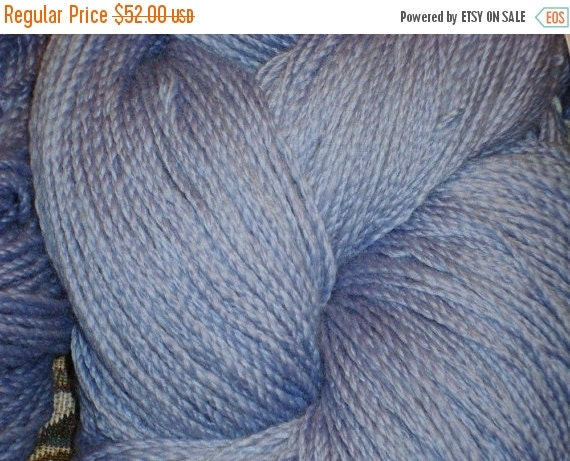 Autumn SALE Handspun Yarn Superwash 530 yds Powder Blue Wool 4 ply cabled yarn Sport weight