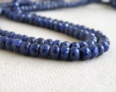 Blue Sapphire Gemstone Faceted Rondelle 4 to 4.5mm 45 beads