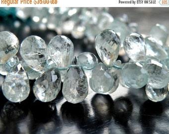 51% Off Sale Aquamarine Gemstone Briolette Blue Faceted Tear Drop 5 to 6mm 1/2 strand 50 beads