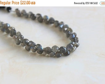 51% Off Sale Labradorite Gemstone Briolette Grey Faceted Onion 5.5mm 30 beads 1/2 Strand